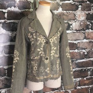 Entity blazer jacket plaid embellished studs large